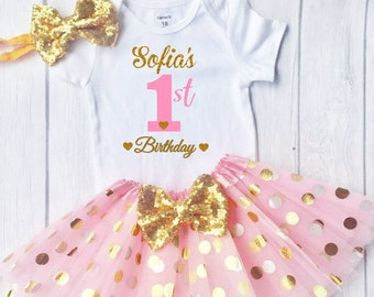 First Birthday Outfit Personalized 1st Pink And Gold Cake Smash Girl