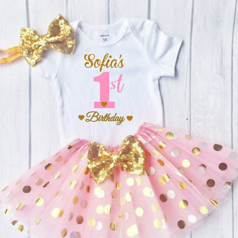7d5644ad83b5 First Birthday Outfit Personalized 1st Birthday Outfit Pink | Etsy