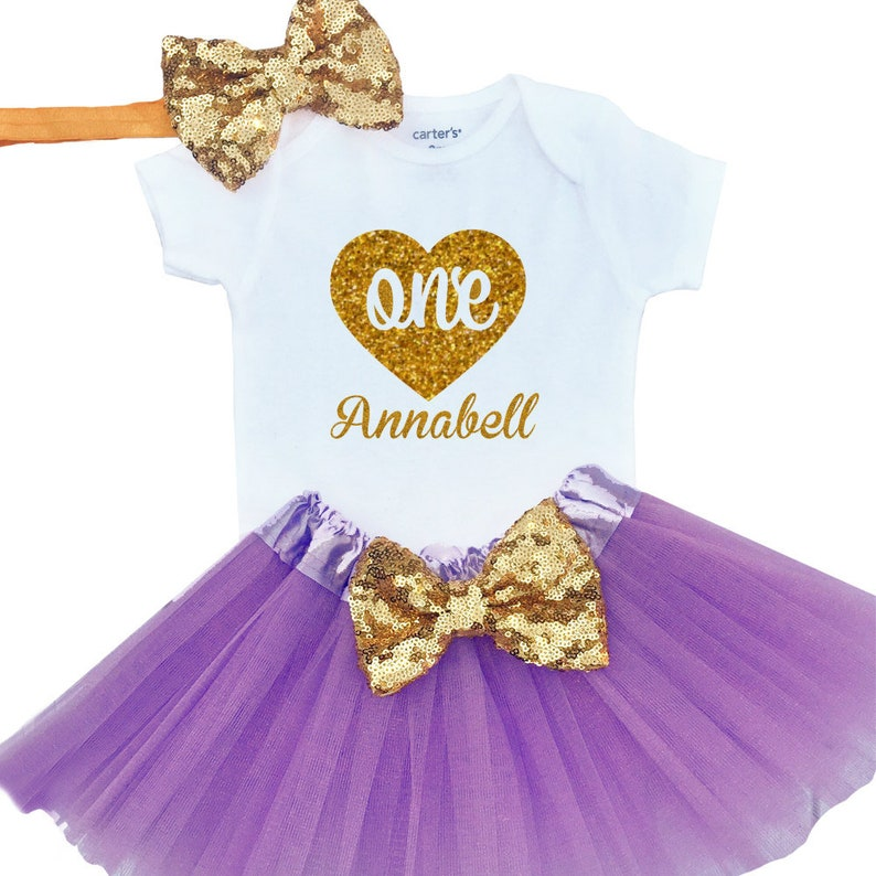 770104dbb305 Girls First Birthday outfit Gold Heart Sparkly Gold Tutu