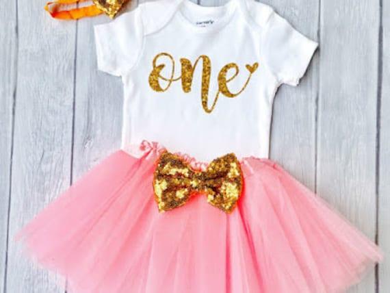 First Birthday Dress Gold Birthday Shirt Baby Girl 1st Birthday Pink Sparkle One Shirt First Birthday Shirt Cake Smash 1st Birthday Outfit