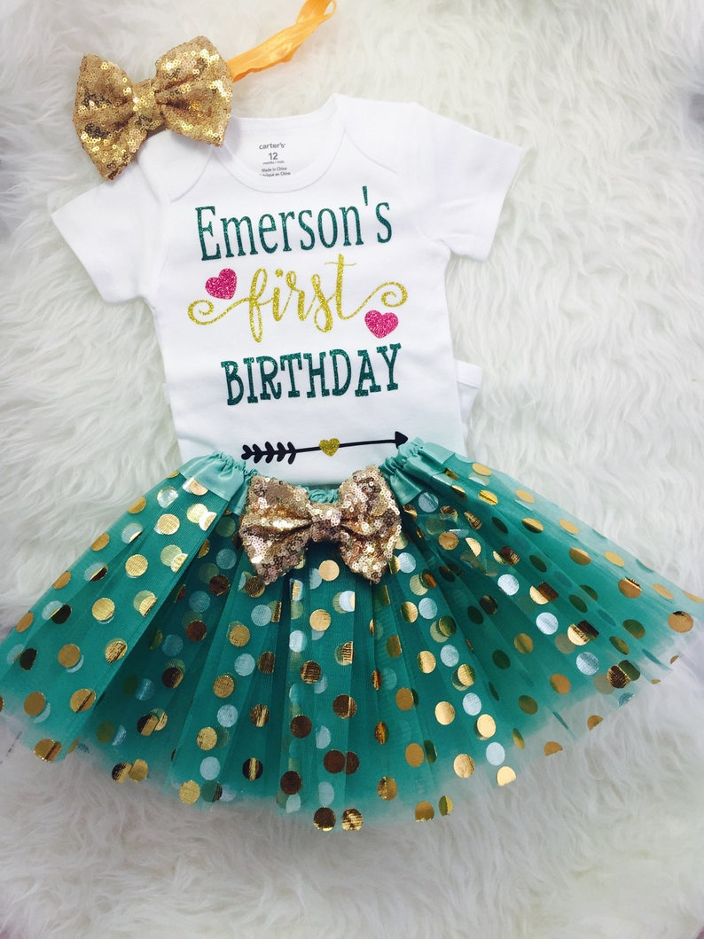 Teal and gold first birthday outfit Birthday Princess One year old outfit 1st birthday tutu outfit Baby girl first birthday ANY NAME