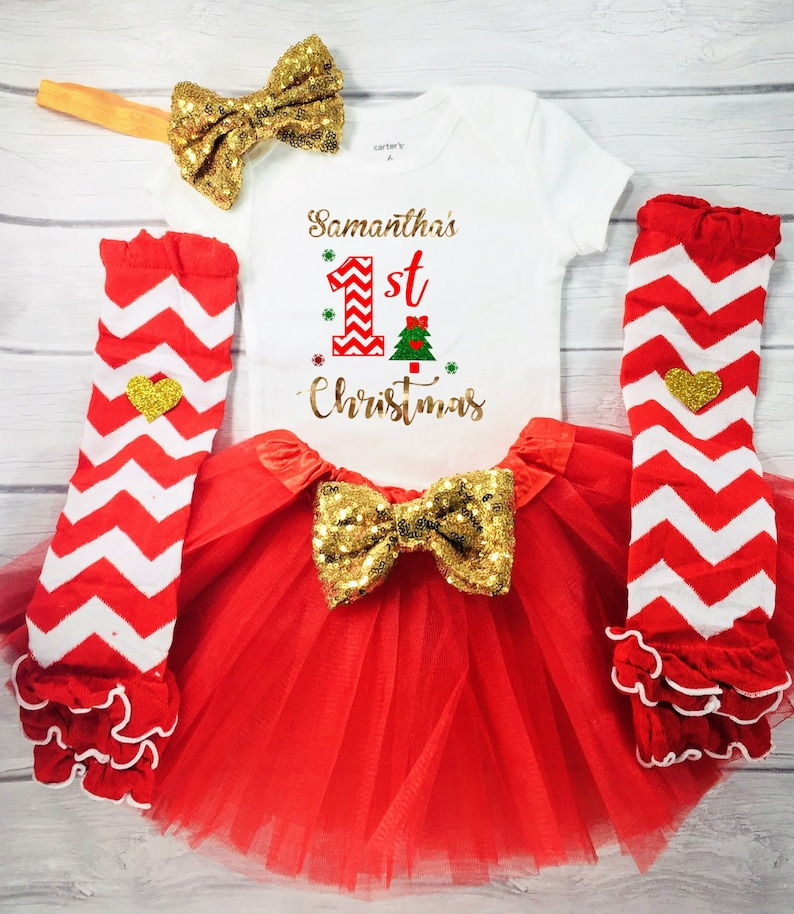 fe6f648f1 Baby Girl 1st Christmas Outfit Baby Girl First Christmas | Etsy