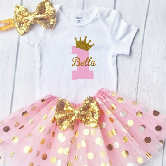 Baby Girl 1st Birthday Outfit.First Birthday Outfit Girl 1st Birthday Outfit Baby Girl First Birthday Outfit Pink And Gold Birthday Cake Smash Outfit One Cake Topper