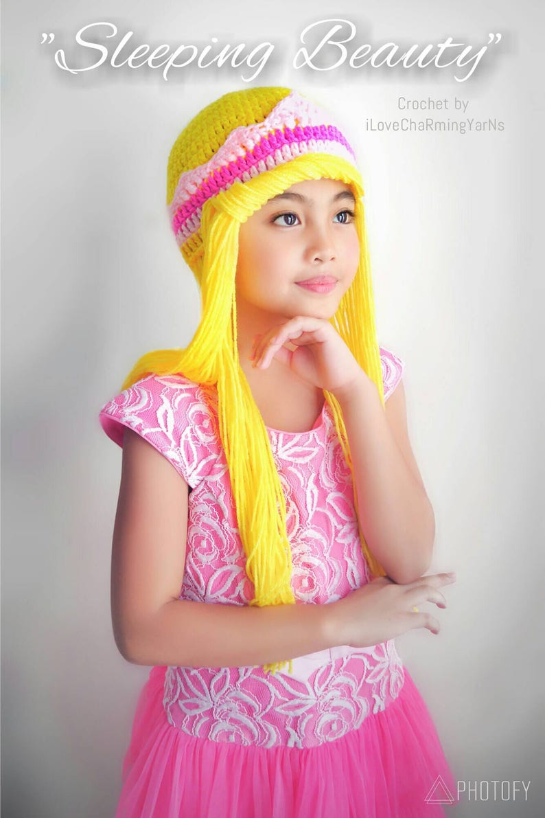 5c60e2d6ff9 Sleeping Beauty wig hat princess aurora wig hat princess