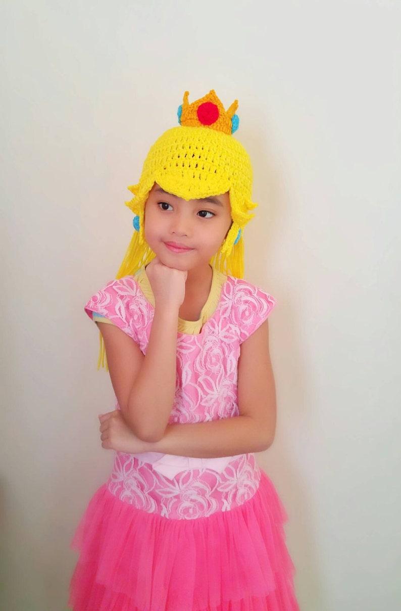 8035d4293c5 Princess Peach crochet wig hat princess hat mario and luigi