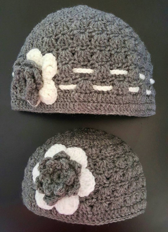 granny stitch hats with 3d flower mini me sets gifts for moms and daughters Mommy and me crocheted hat