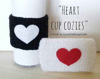 Heart cup cozy, mug cover, tumbler cup cozies, heart crochet cozy, gift for her, i love you cup cozy, cup cover, cup crochet cover, cup cozy