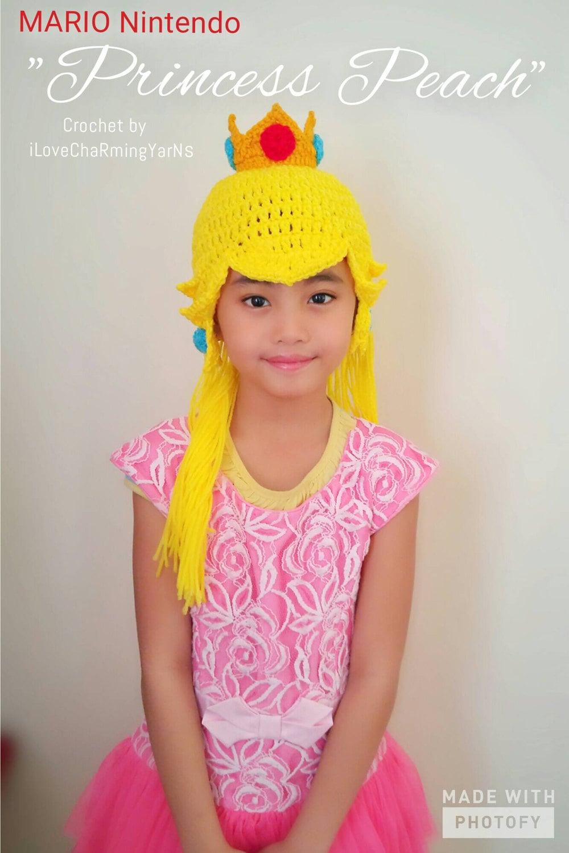 Princesa Peach peluca del sombrero del ganchillo princesa