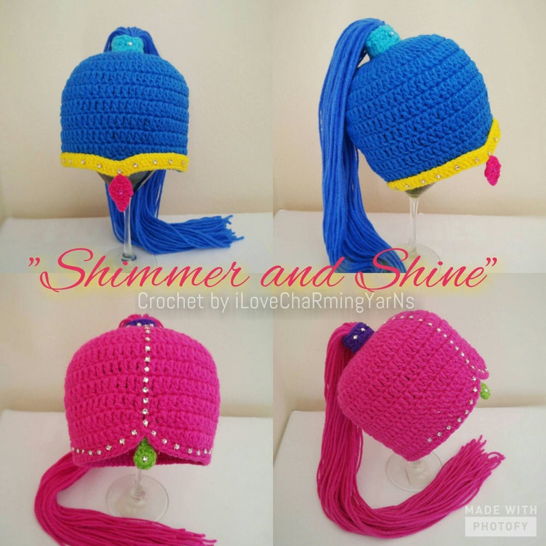 917973c99d1 Shimmer and shine crochet wig hat twin genies hatcharacter