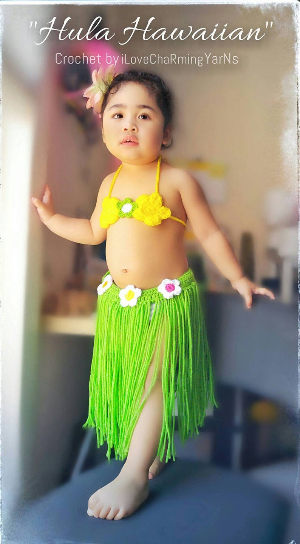 dd7fb9f6f9a48 Crochet hawaiian hula set baby hula outfithula girl outfit | Etsy