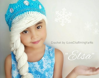 Elsa braid,elsa frozen hat,disney crochet hat,crochet elsa frozen wig hat,frozen elsa hat,frozen crochet hat,princess crochet hat,elsa wig