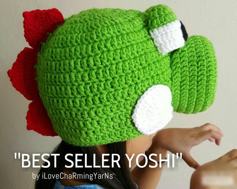 Yoshi costume nintendo dinosaur crochet hatnintendo  75b891340c3