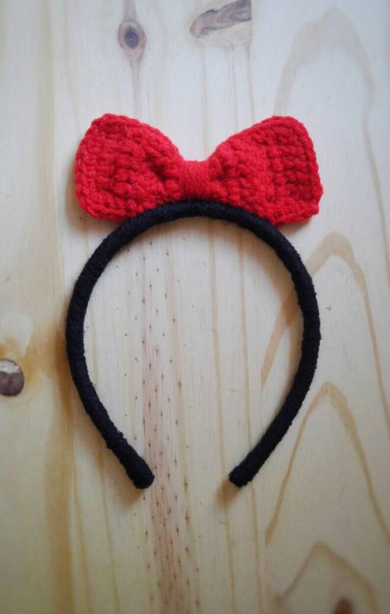 Snow white headband summer bow headband red bow headband princess  headband snow white hair bow disney crochet headband birthday gift
