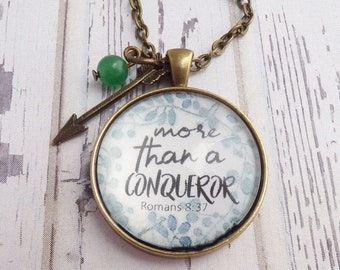More Than A Conqueror // Necklace or Key Chain, Christian Jewelry, Encouragement, Bible Verse, Cancer, Bible Study Gift, Encouragement