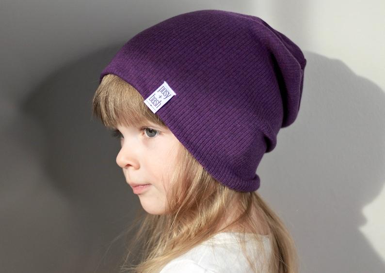 7347660d9be The Dark Heather Purple Ribbed Beanie Slouchy Beanie Baby