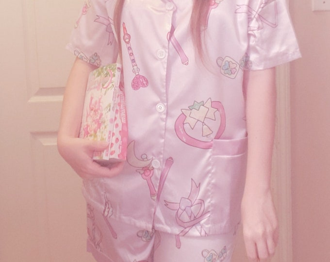 Magical girl wand print Pajama set - button up shirt and shorts