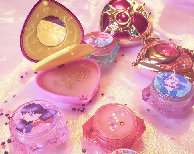 Sailor moon all natural lip balm / solid perfume: customizable compact or crystal pot options with essential oils