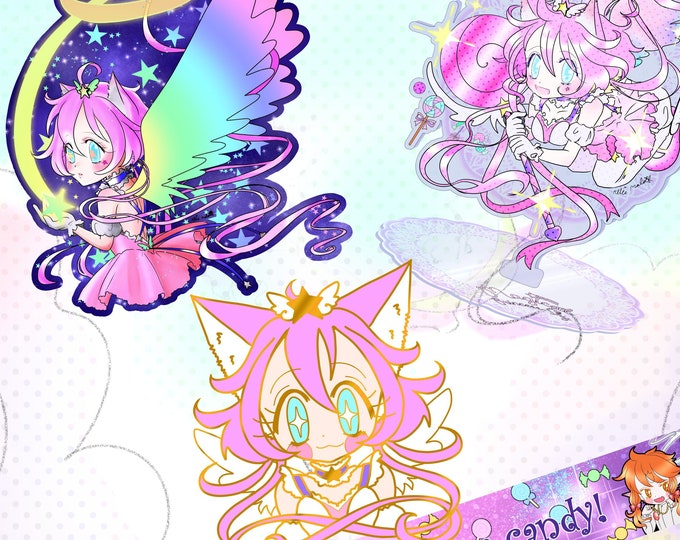 PREORDER Magical Princess Sky enamel pin, washi tape, holographic sticker and arcylic standee!