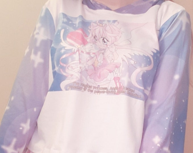 Starry 90's magical girl anime screencap hoodie- soft fabric, angel wings on back, hood