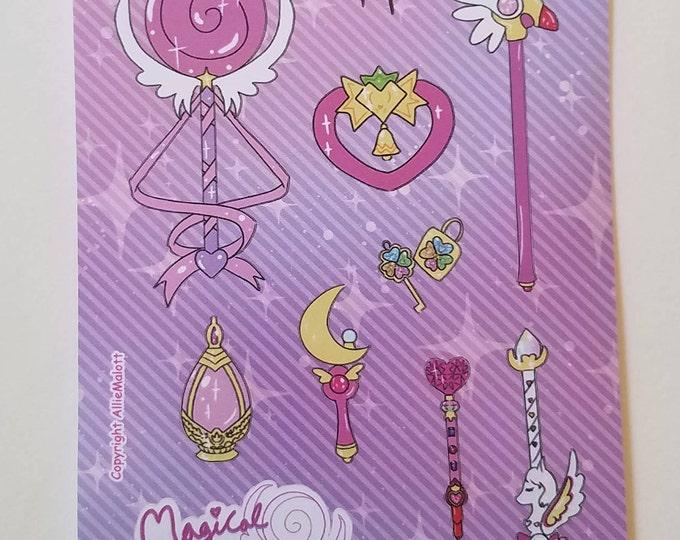 Magical girl sticker sheet- sailor moon, Madoka Magica, Tokyo mew mew, Sugar 2 Rune, Cardcaptor, Shugo Chara, Precure