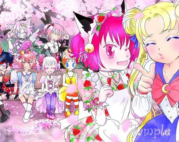 11x17 Magical Girl meetup poster- Tokyo mew mew, Princess Tutu, Sailor moon, Madoka, Sugar 2 Rune, Pretear, Cardcaptor, Shugo chara and more