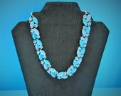 Blue Mid-Century Statement Necklace, Vintage Blue Flower Necklace, Costume Jewelry