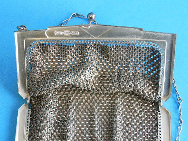 Vintage Wristlet Purse Turquoise Flapper Purse Metal Mesh Handbag Whiting and Davis Purse Vintage Art Deco Metal Mesh Purse