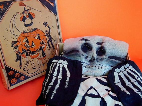 Vintage Halloween Costume, Vintage Skeleton Costu… - image 1