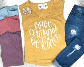 37646fa3db6ea1 Have Courage and Be Kind Tank Top - V-Neck Tank Top for Women - Tank for  Spring - Mustard Tank Top - Be Kind Summer Shirt - Christian Tank