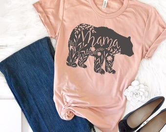 Mama Bear Shirt, Mama Bear TShirt, Floral Mama Bear Shirt, Pregnancy Reveal Shirts, Mom Shirt, Mother's Day Shirt, Baby Shower Gifts for Mom