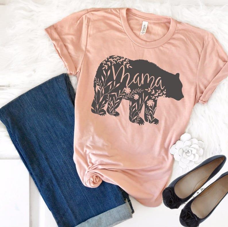 Mama Bear Shirt Mama Bear TShirt Floral Mama Bear Shirt image 0