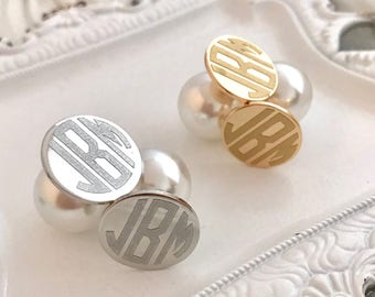 Monogram Earrings, Monogram Stud Earrings, Stud Earrings, Monogrammed Earrings, Monogrammed Stud Earrings, Pearl Back Earrings