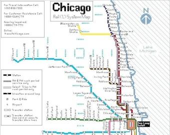 Chicago subway map | Etsy on