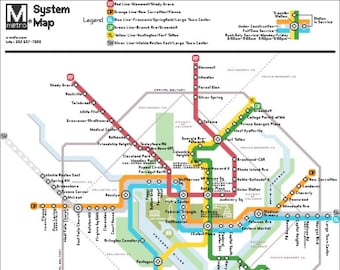 Wmata Subway Map.Dc Metro Map Etsy