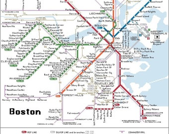 Subway Map Boston Pdf.Boston Subway Map Etsy