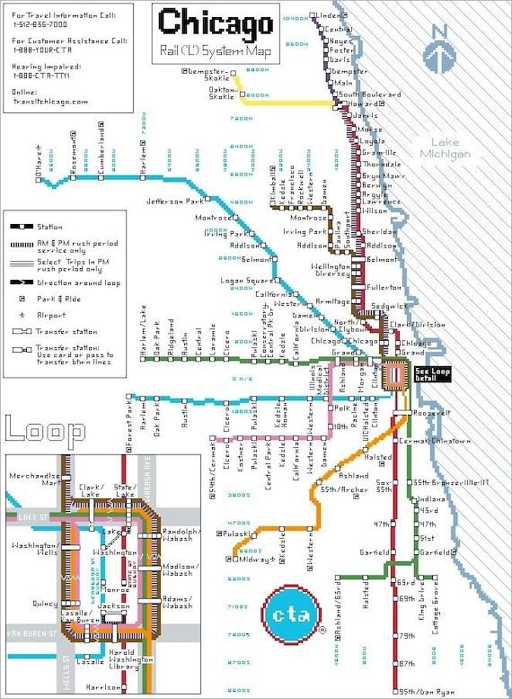 Chicago Subway Map Cross Stitch Pattern Pdf Download Rail Etsy
