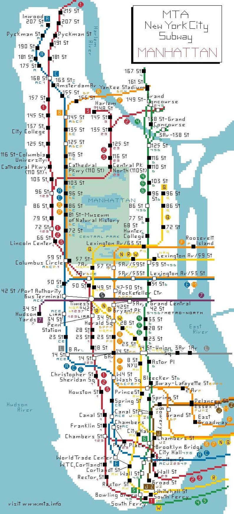 Nyc Subway Map 2018 Pdf.Manhattan Subway Cross Stitch Pattern Pdf Download New York City Map Counted Design
