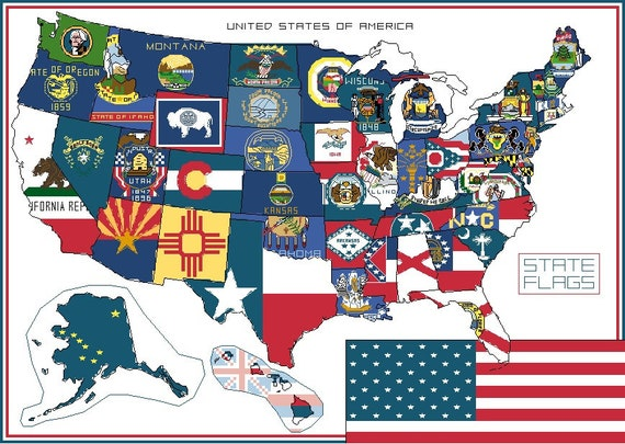 USA State Flags Map Cross-Stitch Pattern PDF Download | United States  America Counted Design Chart