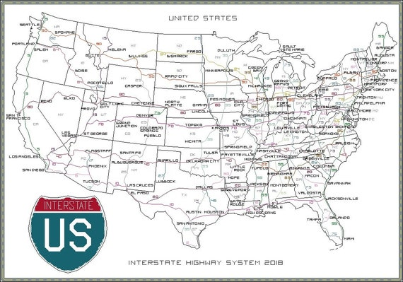 US Interstate Highway System Cross-Stitch Map PDF Download | USA United  States America Roads Chart Design Pattern