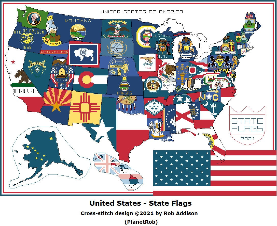 Virginia State Map of Counties with Flag Overlay Digital Cross Stitch Pattern
