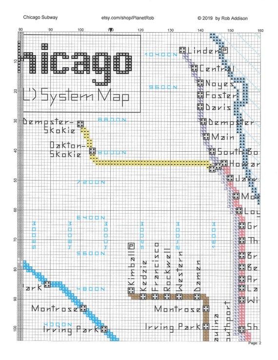 Chicago Subway Map Cross-Sch Pattern PDF Download   Rail