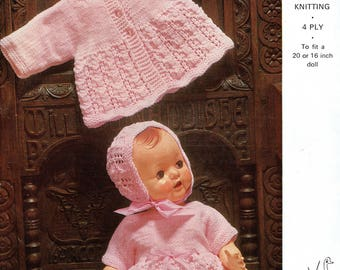 Hayfield 7016 Vintage Knitting Pattern Babys Bootique Full outfits 4 ply QK//DK