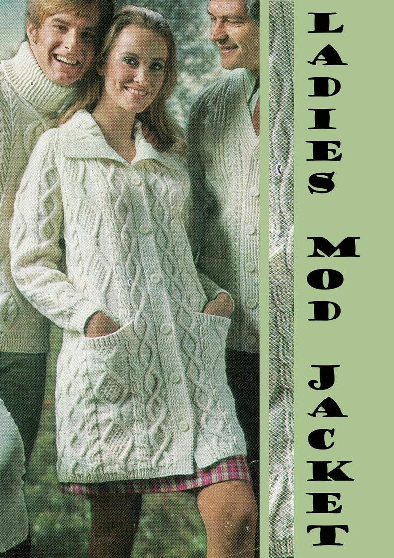 ff2422eae050 PDF Vintage Ladies Womens Knitting Pattern Aran Jacket 1960s