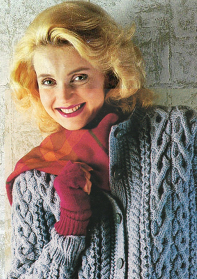 PDF Vintage Pretty Womens Ladies BLUE Knitting Pattern ARAN Jacket Cardigan 1980s Robin Interlocking Cables Winter Snuggly Classic Retro