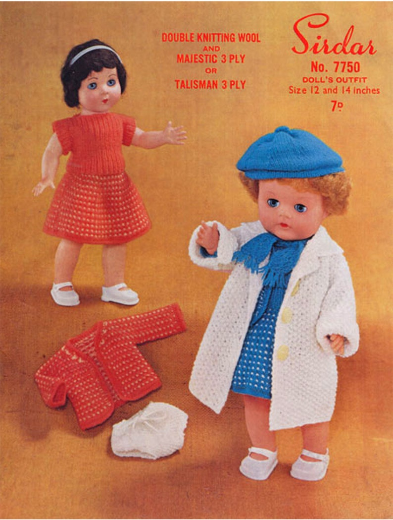 5b00791e5 PDF Vintage 1950s Doll Clothes Knitting Pattern Sirdar 7750