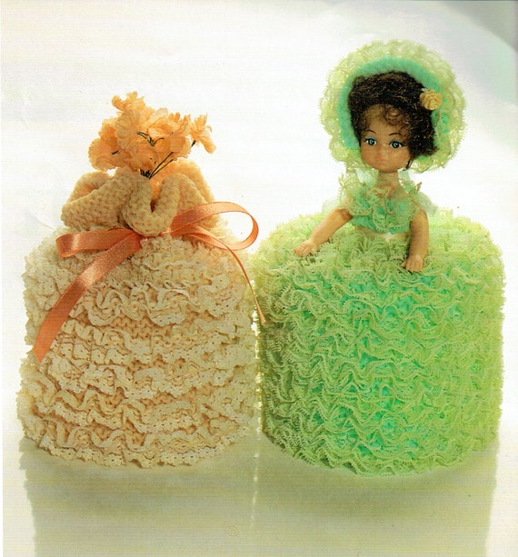 PDF 1960s Kitsch Victorian Frilly Toilet Doll Knitting Pattern Lacy ...