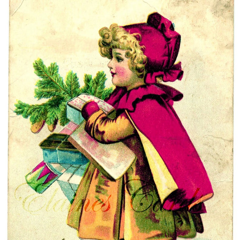 Vintage Decorating Digital Art CHRISTMAS Victorian Girl with Tree Greetings Card Scrapbooking Christmas Cards for Collage Ephemera