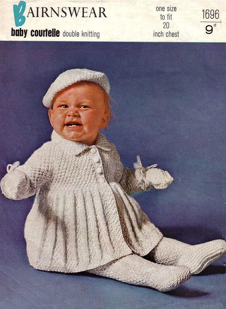 b716fbf0221b3 PDF Vintage Baby Knitting Pattern Bairnswear 1696 1950s Pram