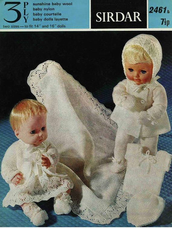 Pdf Vintage Doll Clothes Premature Baby Knitting Pattern Etsy