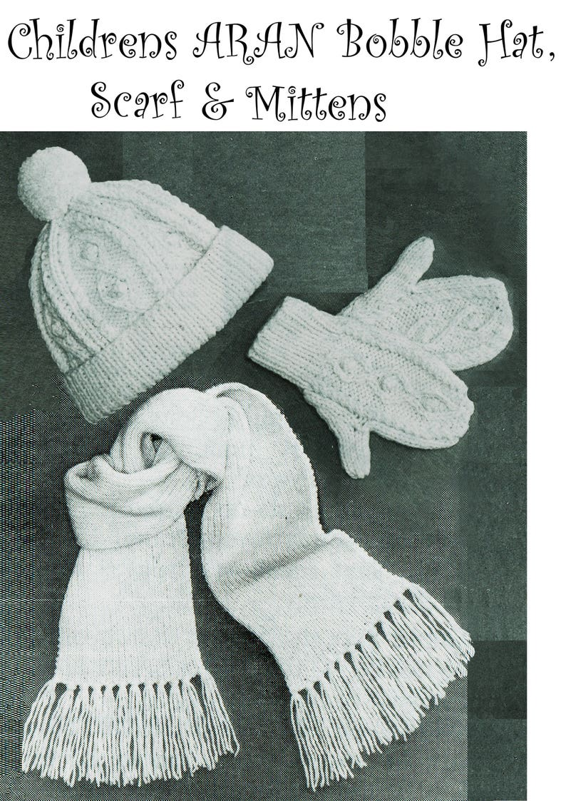 5a88b627ce4 PDF Vintage Childrens ARAN Hat Scarf   Mittens Knitting